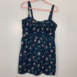 American Eagle | Blue Structured Top Floral Dress
